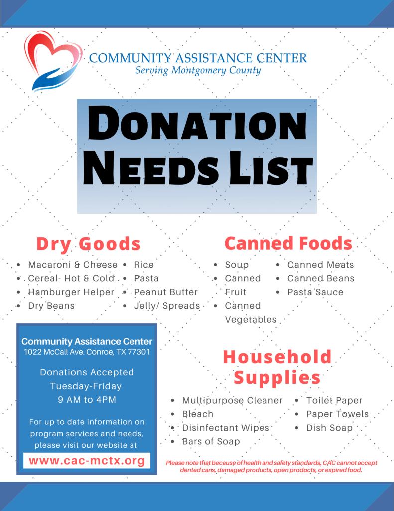 Donation Needs List April 2020