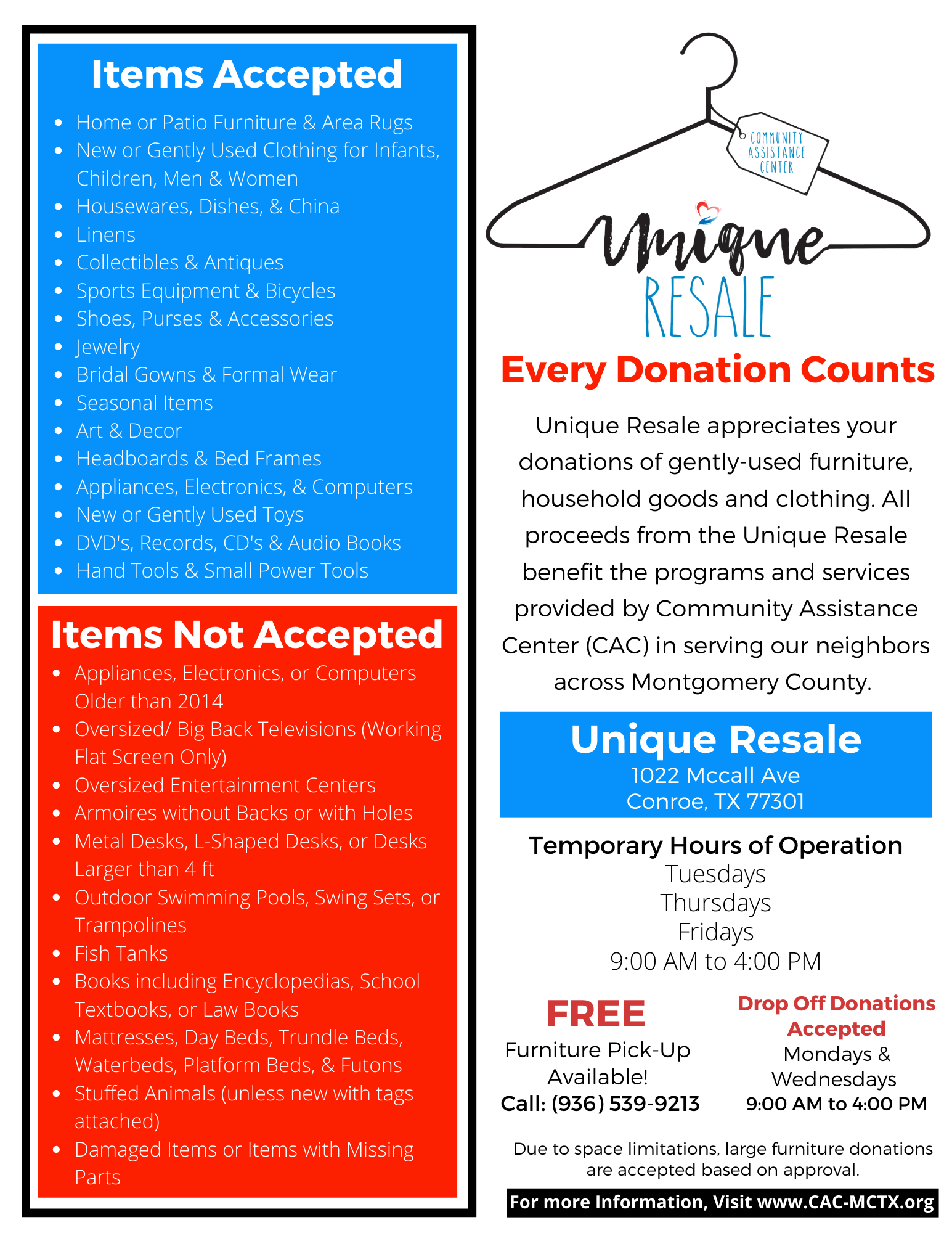 Unique Resale Donation Flyer-T