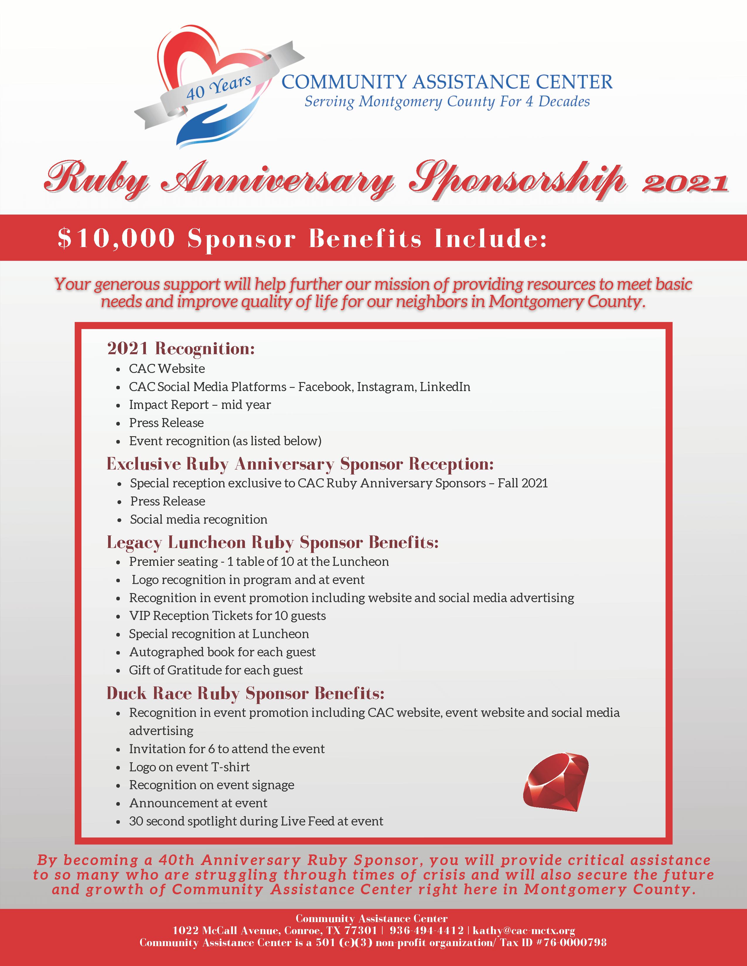CAC Ruby Anniversary Sponsorship 2021